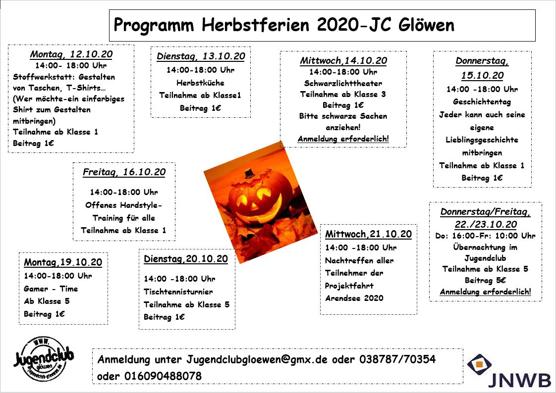 ...Hier unser Herbstferien-programm 2020...