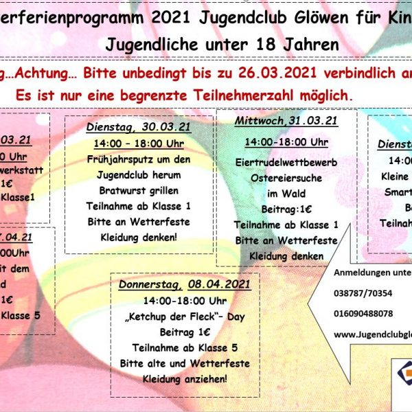 ...Osterferienprogramm 2021...