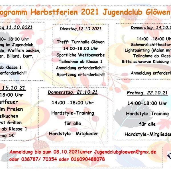 ...Hier unser Programm für die Herbstferien...ganz wichtig anmelden!!!...